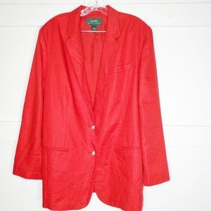 Womens Ralph Lauren Red Linen Blazer Plus 18 W